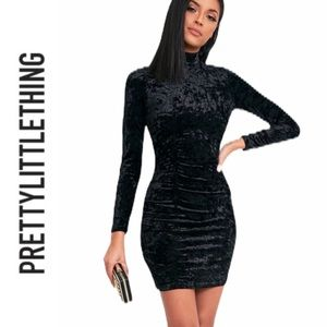 Pretty Little Thing Velvet High Neck Bodycon Dress